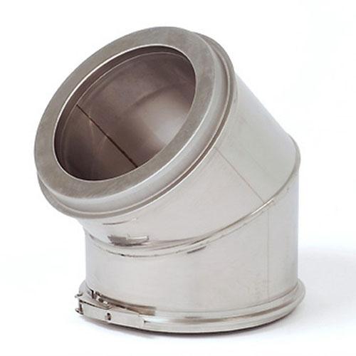 Dubbelwandige bocht INOX / RVS  diameter  200/250mm